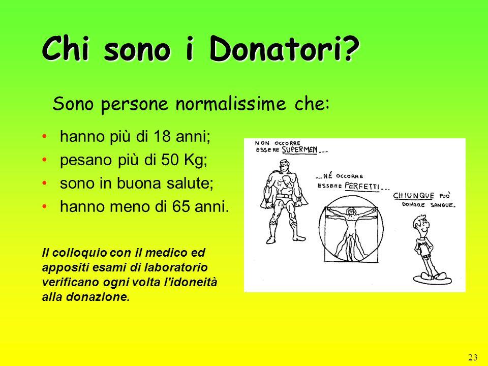 23 Chi sono i Donatori? hanno più di 18 anni; pesano più di 50 Kg; sono in buona salute; hanno meno di 65 anni. Sono persone normalissime che: Il coll