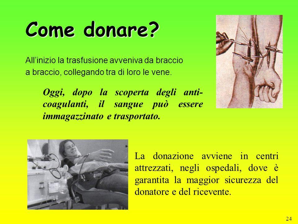 24 Come donare? Allinizio la trasfusione avveniva da braccio a braccio, collegando tra di loro le vene. La donazione avviene in centri attrezzati, neg