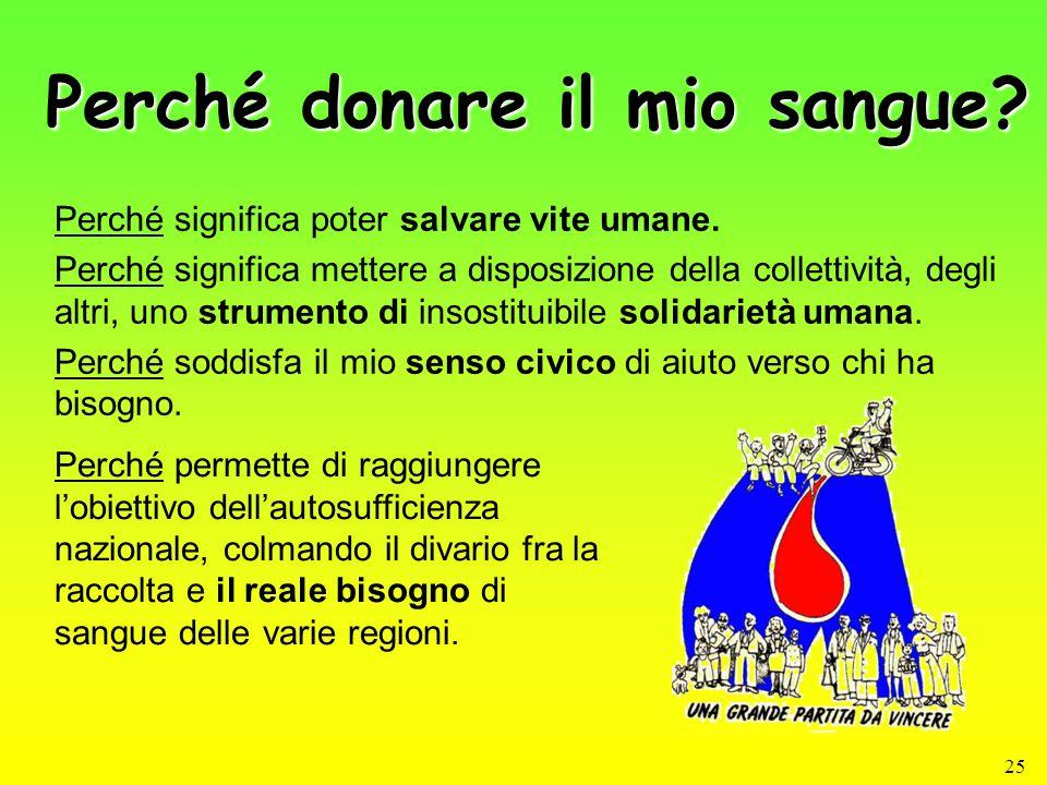25 Perché donare il mio sangue? Perché significa poter salvare vite umane. Perché significa mettere a disposizione della collettività, degli altri, un