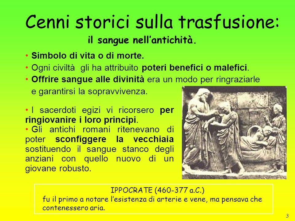 4 Cenni storici sulla trasfusione: Il periodo storico in cui al sangue, ritenuto persino sede dellanima, venivano attribuiti poteri misteriosi e magici dura fino al Rinascimento.