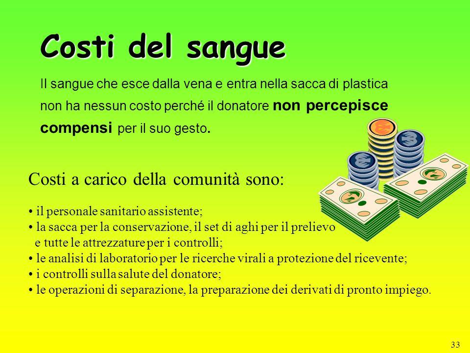 33 Costi del sangue Il sangue che esce dalla vena e entra nella sacca di plastica non ha nessun costo perché il donatore non percepisce compensi per i