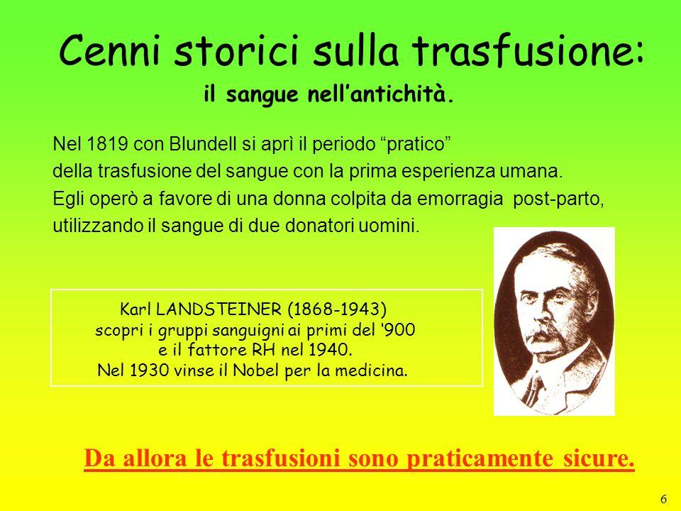 6 Cenni storici sulla trasfusione: Nel 1819 con Blundell si aprì il periodo pratico della trasfusione del sangue con la prima esperienza umana. Egli o