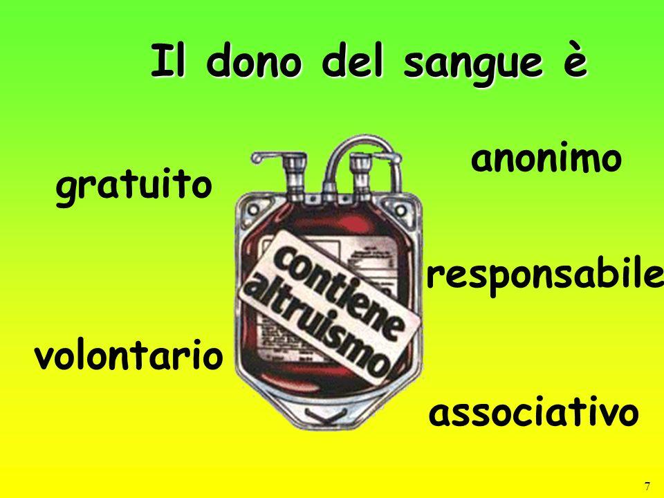 7 Il dono del sangue è anonimo gratuito volontario responsabile associativo