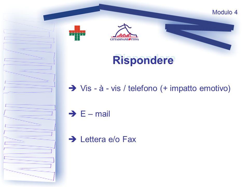 Rispondere Rispondere Vis - à - vis / telefono (+ impatto emotivo) E – mail Lettera e/o Fax Modulo 4