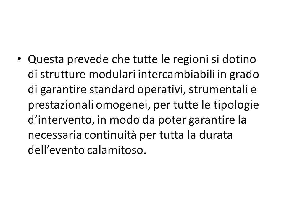 Questa prevede che tutte le regioni si dotino di strutture modulari intercambiabili in grado di garantire standard operativi, strumentali e prestazion