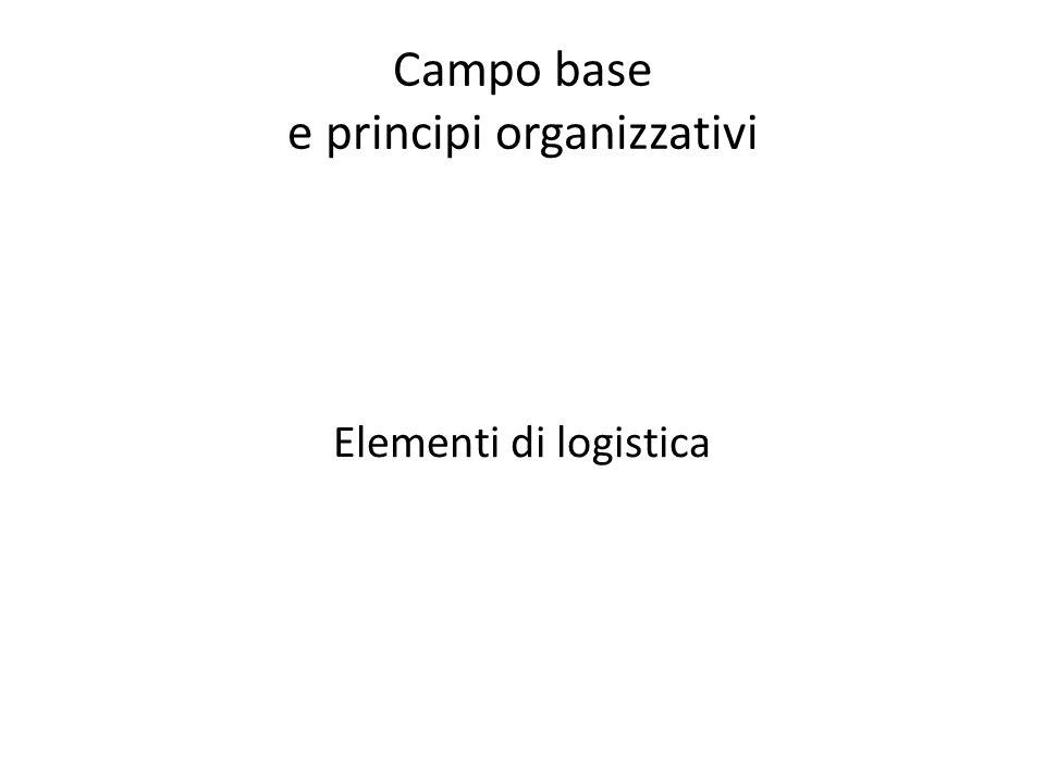 Campo base e principi organizzativi Elementi di logistica