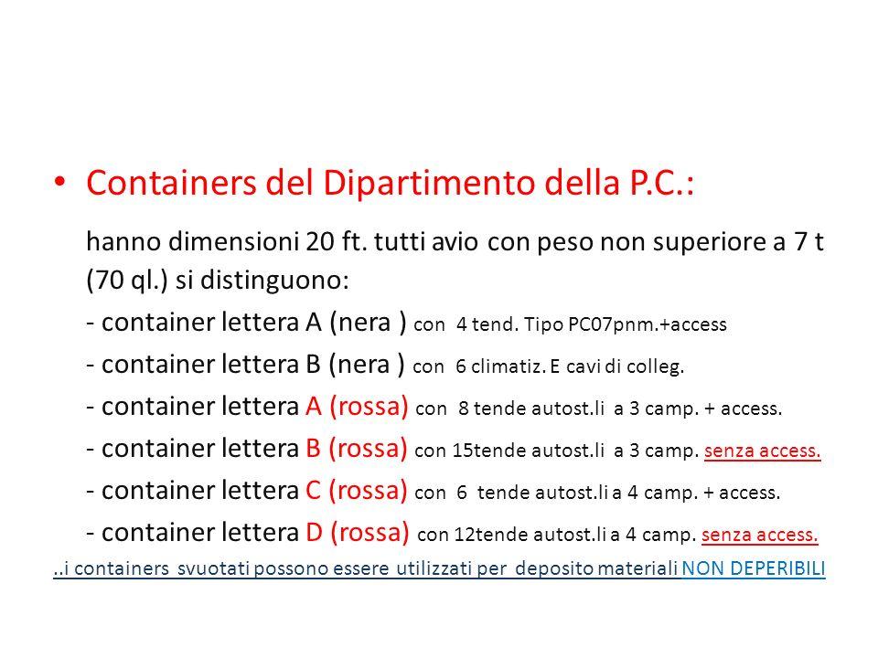 Containers del Dipartimento della P.C.: hanno dimensioni 20 ft. tutti avio con peso non superiore a 7 t (70 ql.) si distinguono: - container lettera A