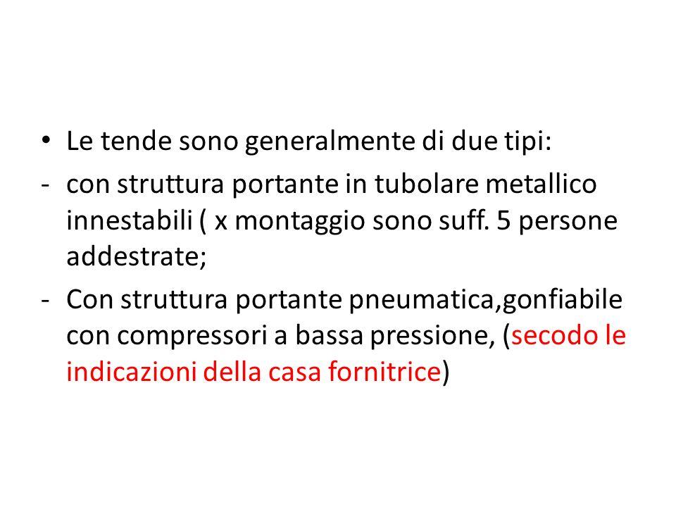 Le tende sono generalmente di due tipi: -con struttura portante in tubolare metallico innestabili ( x montaggio sono suff. 5 persone addestrate; -Con