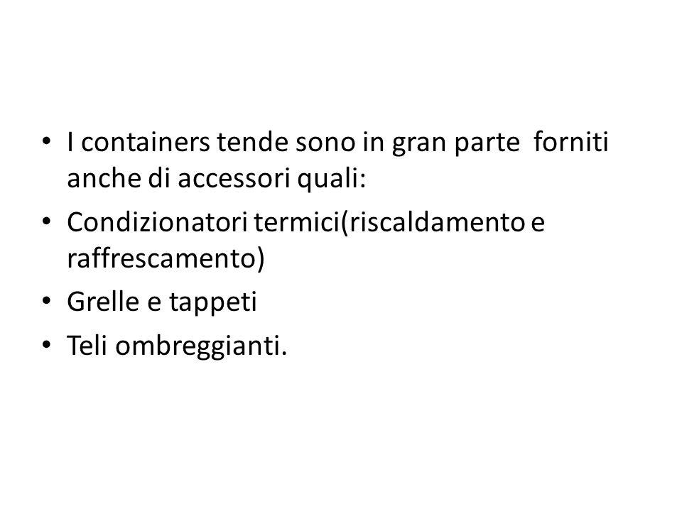 I containers tende sono in gran parte forniti anche di accessori quali: Condizionatori termici(riscaldamento e raffrescamento) Grelle e tappeti Teli o