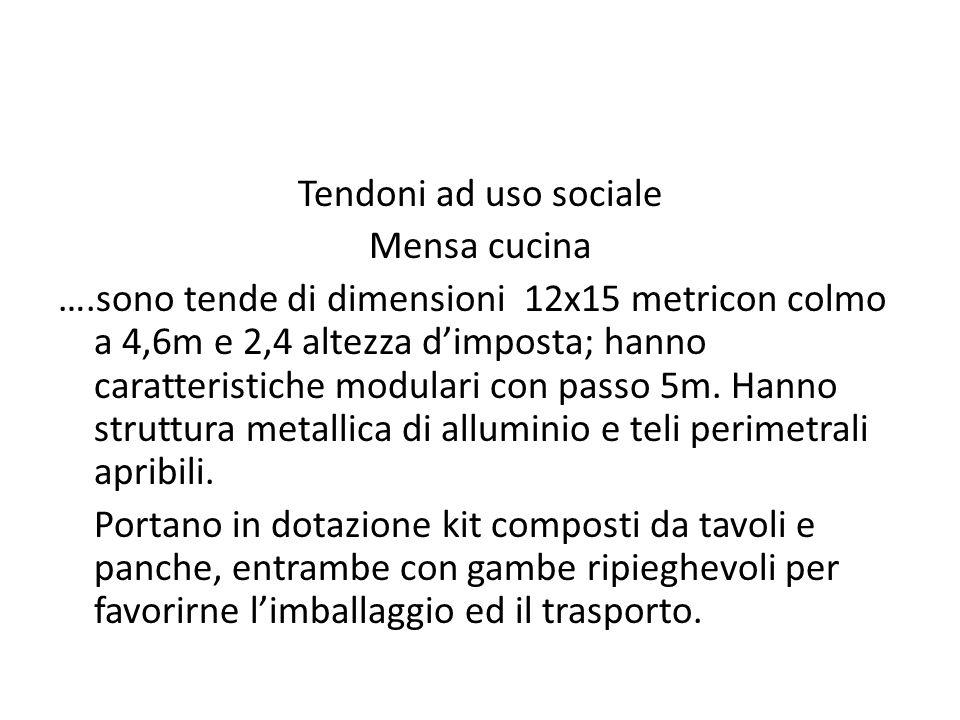 Tendoni ad uso sociale Mensa cucina ….sono tende di dimensioni 12x15 metricon colmo a 4,6m e 2,4 altezza dimposta; hanno caratteristiche modulari con