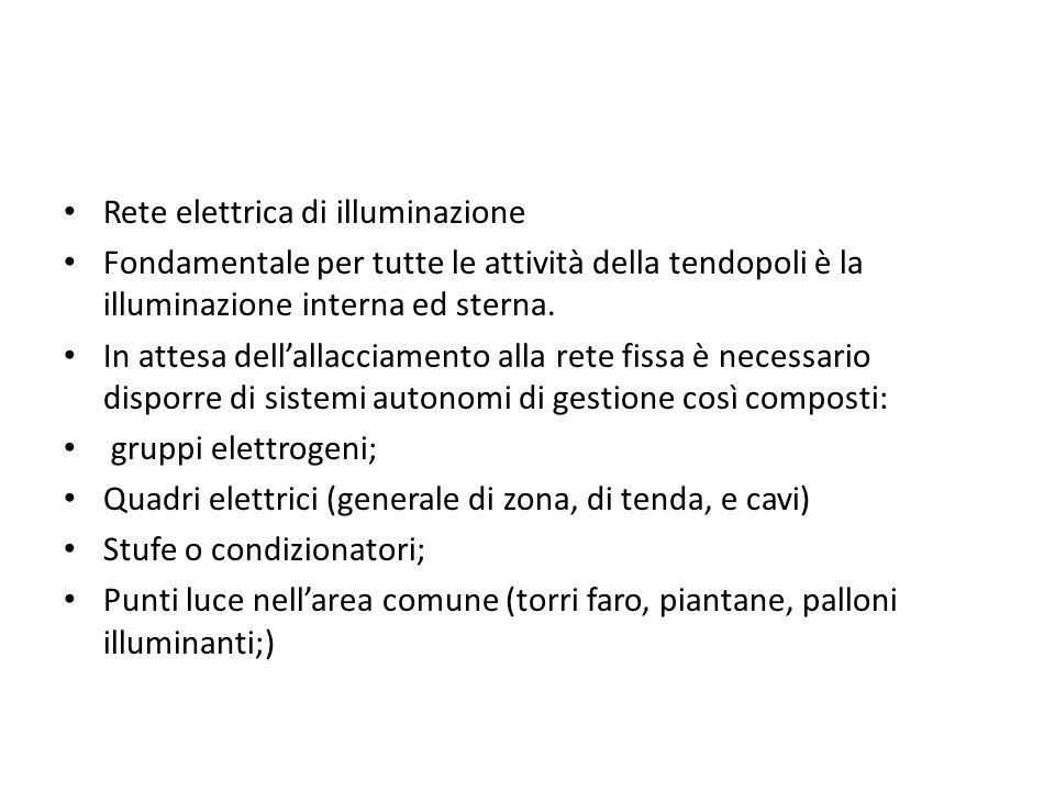 Rete elettrica di illuminazione Fondamentale per tutte le attività della tendopoli è la illuminazione interna ed sterna. In attesa dellallacciamento a