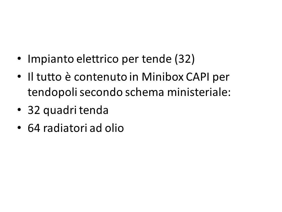 Impianto elettrico per tende (32) Il tutto è contenuto in Minibox CAPI per tendopoli secondo schema ministeriale: 32 quadri tenda 64 radiatori ad olio