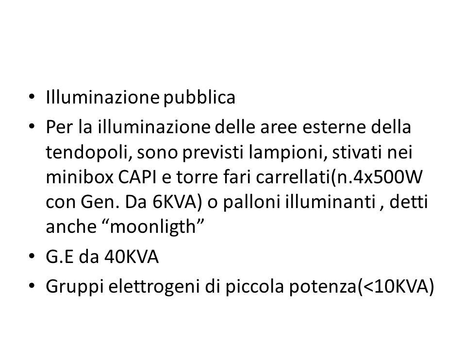 Illuminazione pubblica Per la illuminazione delle aree esterne della tendopoli, sono previsti lampioni, stivati nei minibox CAPI e torre fari carrella