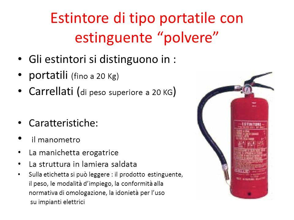 Estintore di tipo portatile con estinguente polvere Gli estintori si distinguono in : portatili (fino a 20 Kg) Carrellati ( di peso superiore a 20 KG