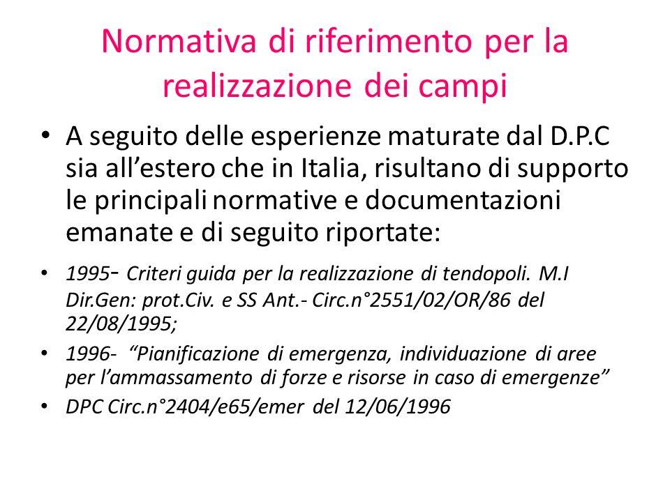 Normativa di riferimento per la realizzazione dei campi A seguito delle esperienze maturate dal D.P.C sia allestero che in Italia, risultano di suppor