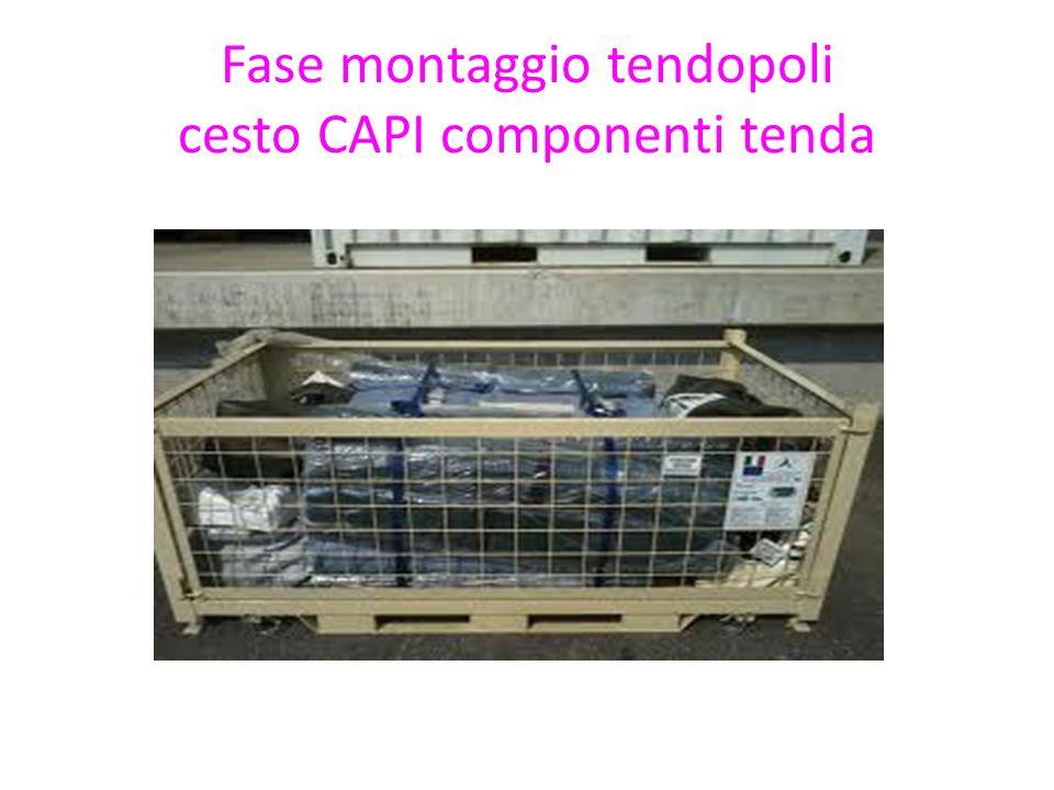 Fase montaggio tendopoli cesto CAPI componenti tenda
