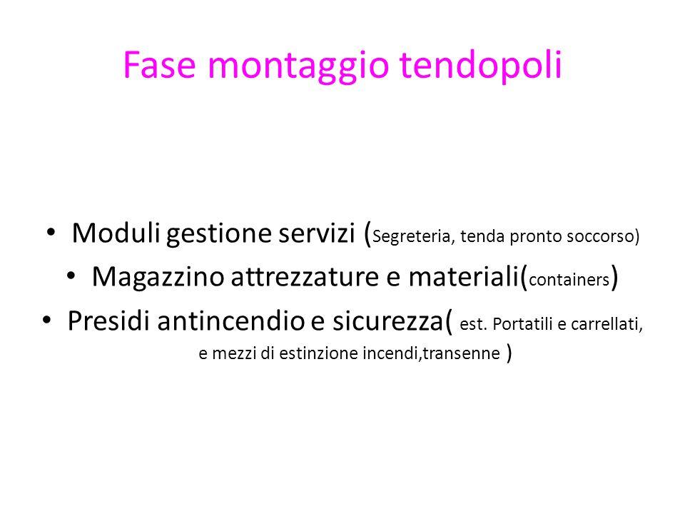 Fase montaggio tendopoli Moduli gestione servizi ( Segreteria, tenda pronto soccorso) Magazzino attrezzature e materiali( containers ) Presidi antince