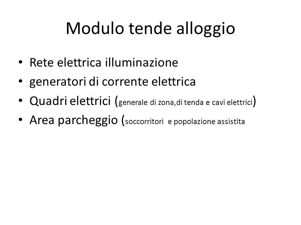 Modulo tende alloggio Rete elettrica illuminazione generatori di corrente elettrica Quadri elettrici ( generale di zona,di tenda e cavi elettrici ) Ar