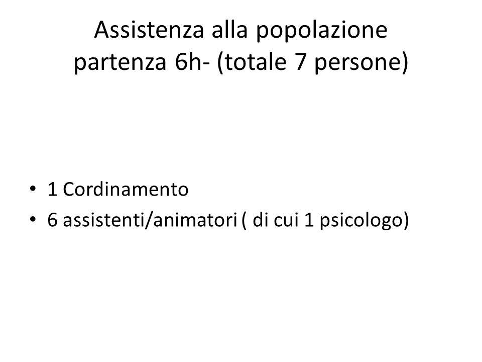Assistenza alla popolazione partenza 6h- (totale 7 persone) 1 Cordinamento 6 assistenti/animatori ( di cui 1 psicologo)