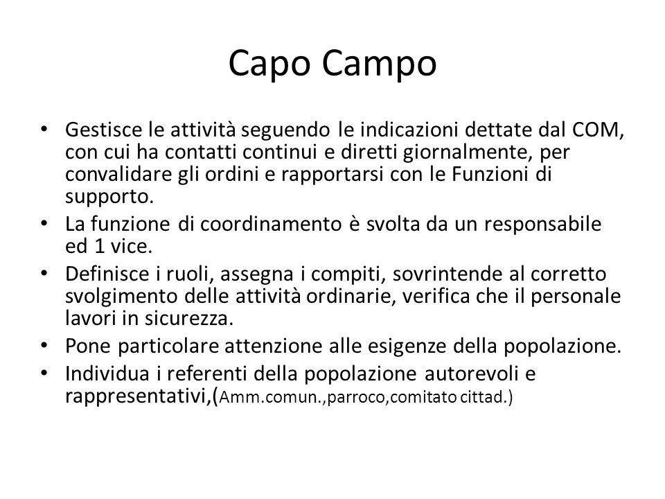 Capo Campo Gestisce le attività seguendo le indicazioni dettate dal COM, con cui ha contatti continui e diretti giornalmente, per convalidare gli ordi