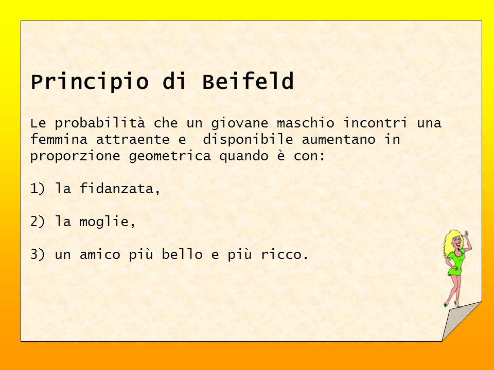 Principio di Beifeld Le probabilità che un giovane maschio incontri una femmina attraente e disponibile aumentano in proporzione geometrica quando è con: 1) la fidanzata, 2) la moglie, 3) un amico più bello e più ricco.