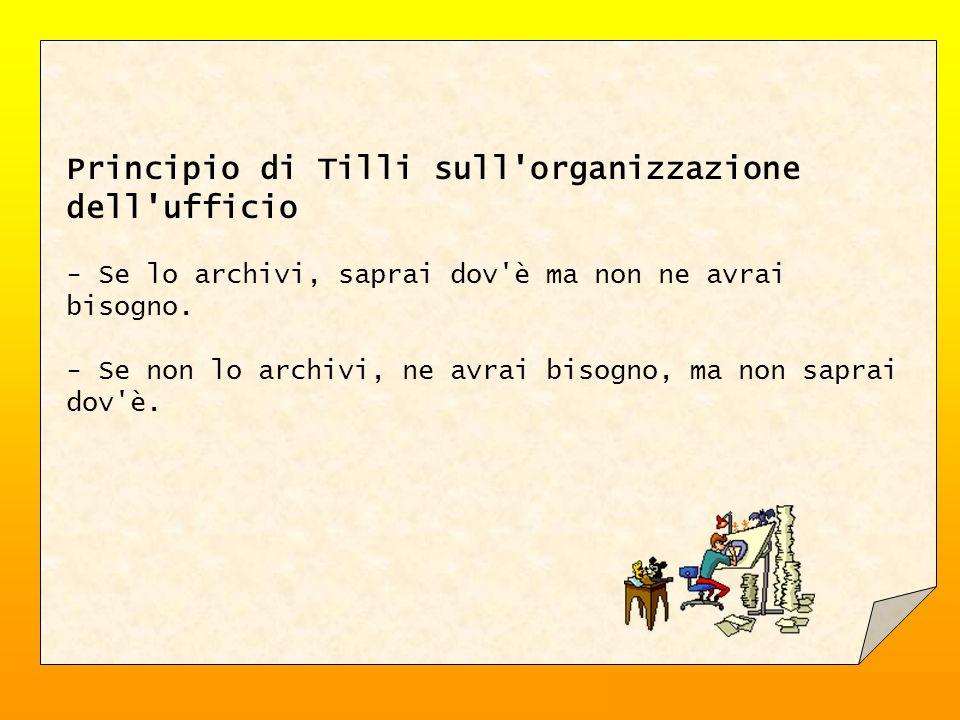 Principio di Tilli sull'organizzazione dell'ufficio - Se lo archivi, saprai dov'è ma non ne avrai bisogno. - Se non lo archivi, ne avrai bisogno, ma n