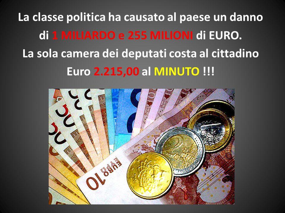 La classe politica ha causato al paese un danno di 1 MILIARDO e 255 MILIONI di EURO. La sola camera dei deputati costa al cittadino Euro 2.215,00 al M