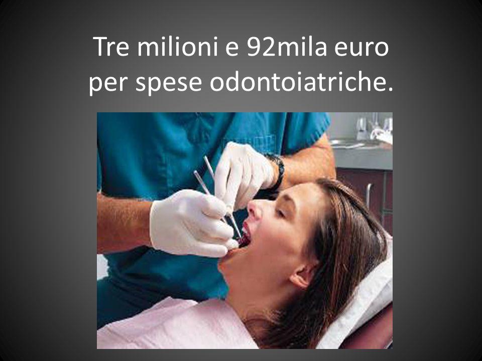 Tre milioni e 92mila euro per spese odontoiatriche.
