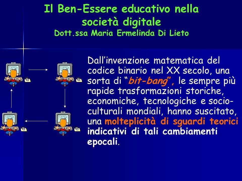 Il Ben-Essere educativo nella società digitale Dott.ssa Maria Ermelinda Di Lieto Dallinvenzione matematica del codice binario nel XX secolo, una sorta