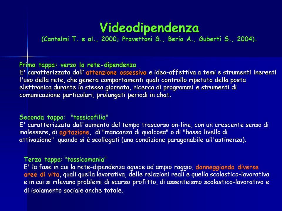 Videodipendenza Videodipendenza (Cantelmi T. e al., 2000; Pravettoni G., Beria A., Guberti S., 2004). Prima tappa: verso la rete-dipendenza E' caratte