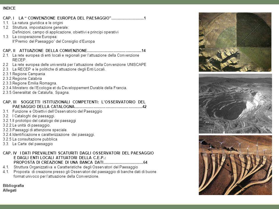 INDICE CAP.I LA CONVENZIONE EUROPEA DEL PAESAGGIO……………………..1 1.1.