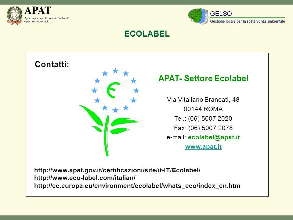 ECOLABEL APAT- Settore Ecolabel Via Vitaliano Brancati, 48 00144 ROMA Tel.: (06) 5007 2020 Fax: (06) 5007 2078 e-mail: Fax: (06) 5007 2078 e-mail: ecolabel@apat.it www.apat.it Contatti: http://www.apat.gov.it/certificazioni/site/it-IT/Ecolabel/ http://www.eco-label.com/italian/ http://ec.europa.eu/environment/ecolabel/whats_eco/index_en.htm