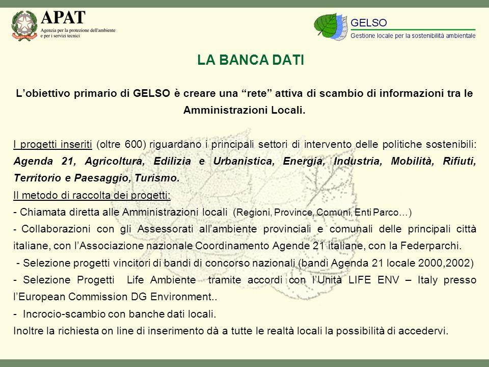 LA BANCA DATI Lobiettivo primario di GELSO è creare una rete attiva di scambio di informazioni tra le Amministrazioni Locali.