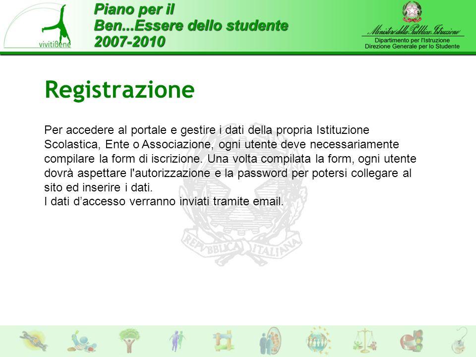 Registrazione Per accedere al portale e gestire i dati della propria Istituzione Scolastica, Ente o Associazione, ogni utente deve necessariamente compilare la form di iscrizione.