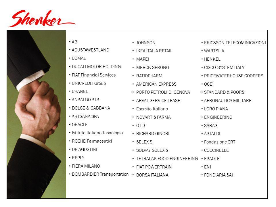ABI AGUSTAWESTLAND COMAU DUCATI MOTOR HOLDING FIAT Financial Services UNICREDIT Group CHANEL ANSALDO STS DOLCE & GABBANA ARTSANA SPA ORACLE Istituto Italiano Tecnologia ROCHE Farmaceutici DE AGOSTINI REPLY FIERA MILANO BOMBARDIER Transportation JOHNSON IKEA ITALIA RETAIL MAPEI MERCK SERONO RATIOPHARM AMERICAN EXPRESS PORTO PETROLI DI GENOVA ARVAL SERVICE LEASE Esercito Italiano NOVARTIS FARMA OTIS RICHARD GINORI SELEX SI SOLVAY SOLEXIS TETRAPAK FOOD ENGINEERING FIAT POWERTRAIN BORSA ITALIANA ERICSSON TELECOMINICAZIONI WARTSILA HENKEL CISCO SYSTEM ITALY PRICEWATERHOUSE COOPERS OCE STANDARD & POORS AERONAUTICA MILITARE LORO PIANA ENGINEERING SARAS ASTALDI Fondazione CRT COCCINELLE ESAOTE ENI FONDIARIA SAI