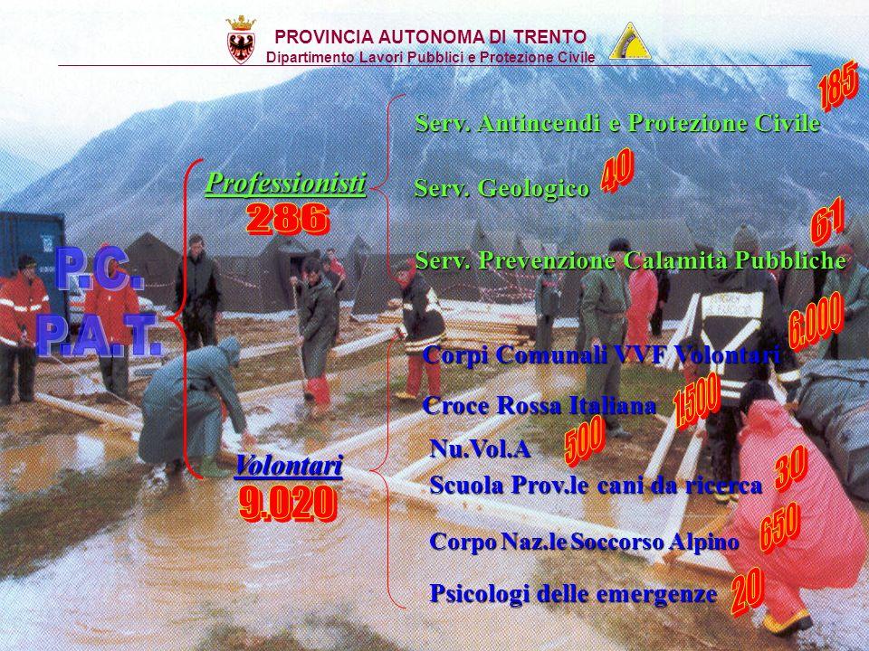 La P.C. in Provincia di Trento Legge provinciale 10 gennaio 1992 nr 2: Legge provinciale 10 gennaio 1992 nr 2: Organizzazione degli interventi della P