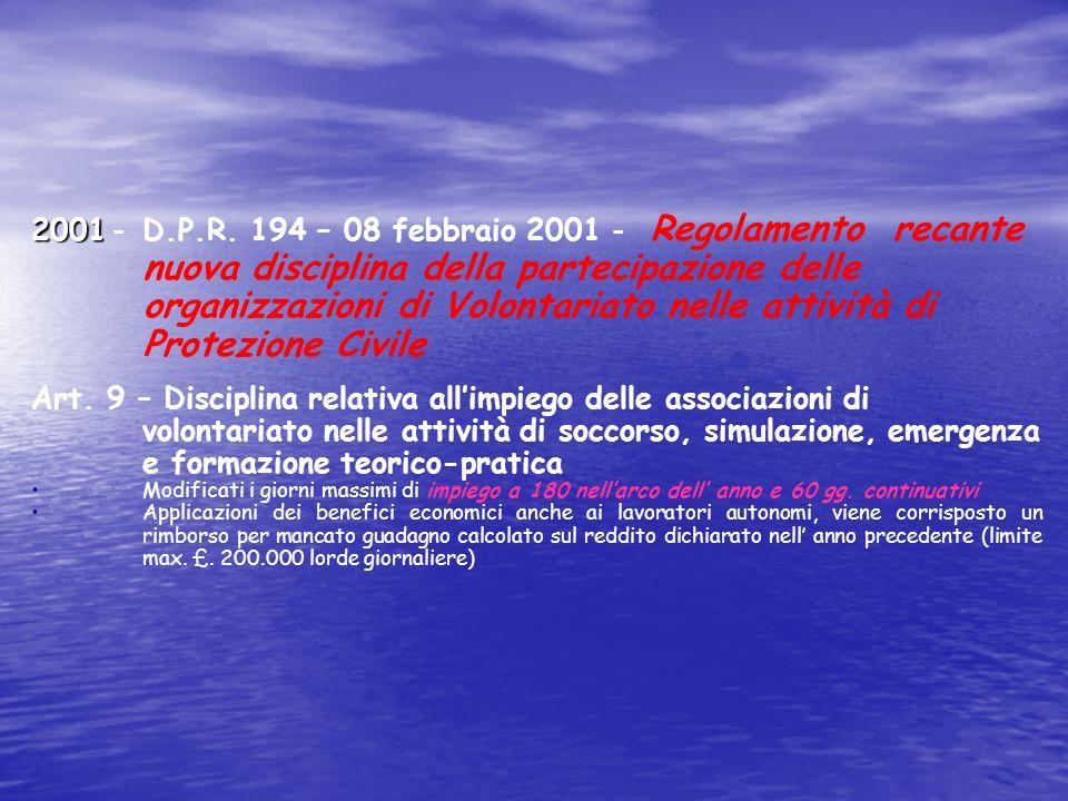 1992 1992 - D.P.R. 613 - 21 settembre 1994 - Regolamento – recante norme concernenti la partecipazione delle Associazioni di Volontariato nelle attivi