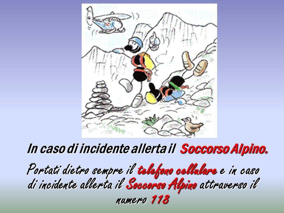 In caso di incidente allerta il Soccorso Alpino. Portati dietro sempre il telefono cellulare e in caso di incidente allerta il Soccorso Alpino attrave