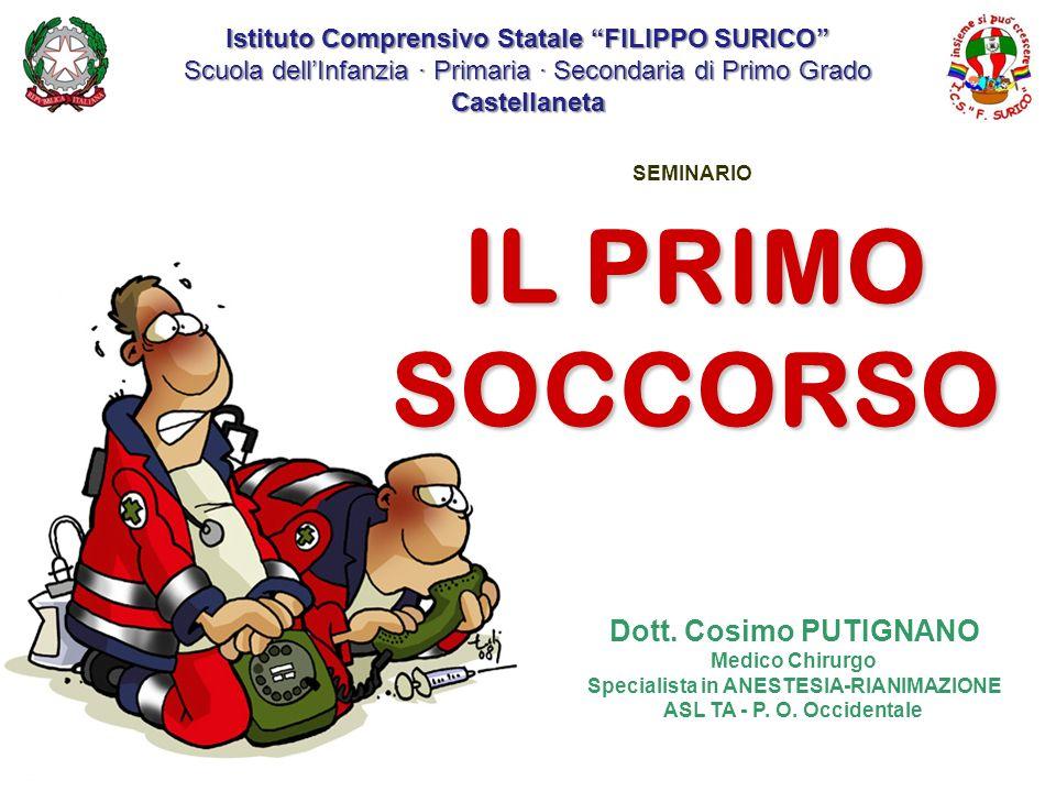 SEMINARIO Dott. Cosimo PUTIGNANO Medico Chirurgo Specialista in ANESTESIA-RIANIMAZIONE ASL TA - P. O. Occidentale IL PRIMO SOCCORSO Istituto Comprensi