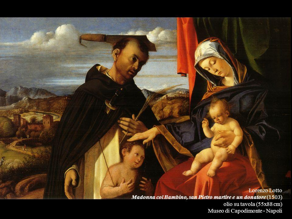 Lorenzo Lotto Madonna col Bambino, san Pietro martire e un donatore (1503) olio su tavola (55x88 cm) Museo di Capodimonte - Napoli