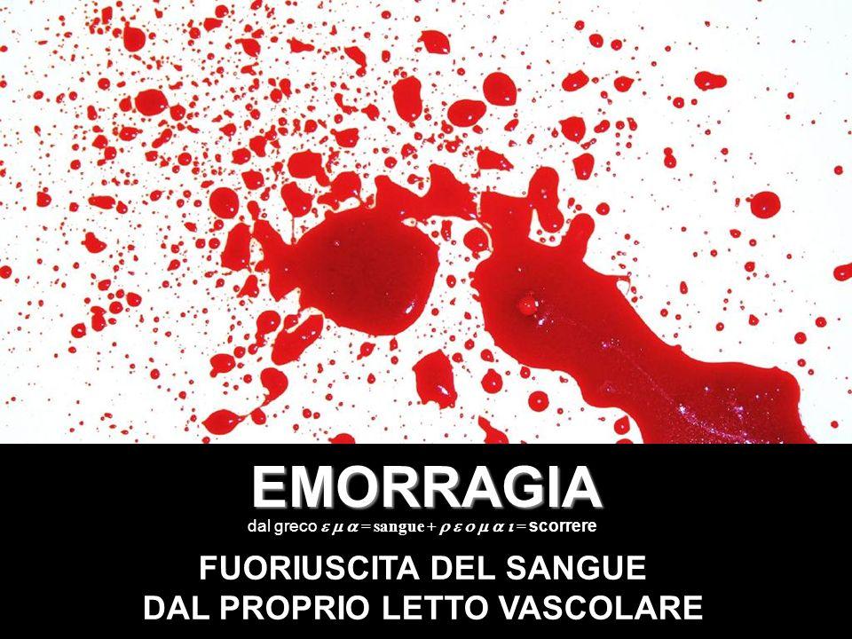 EMORRAGIA FUORIUSCITA DEL SANGUE DAL PROPRIO LETTO VASCOLARE dal greco = sangue + = scorrere