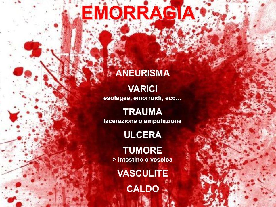 ANEURISMA VARICI esofagee, emorroidi, ecc… TRAUMA lacerazione o amputazione ULCERA TUMORE > intestino e vescica VASCULITE CALDOEMORRAGIA