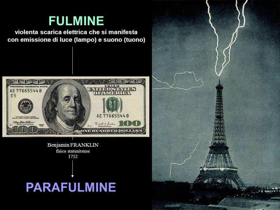PARAFULMINE FULMINE violenta scarica elettrica che si manifesta con emissione di luce (lampo) e suono (tuono) Benjamin FRANKLIN fisico statunitense 17