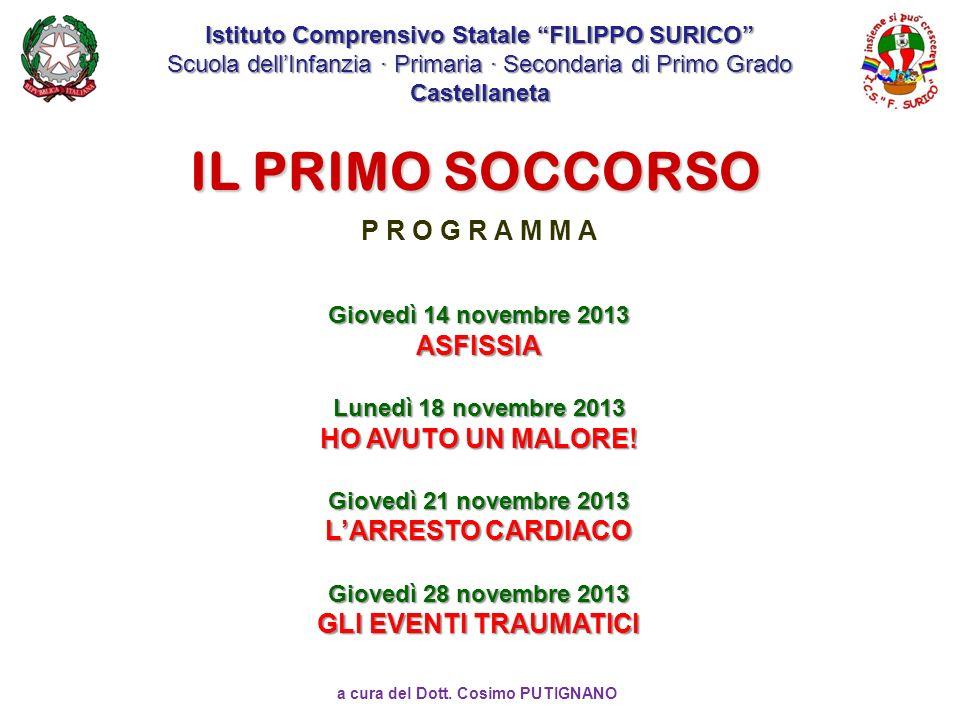 a cura del Dott. Cosimo PUTIGNANO IL PRIMO SOCCORSO Istituto Comprensivo Statale FILIPPO SURICO Scuola dellInfanzia · Primaria · Secondaria di Primo G