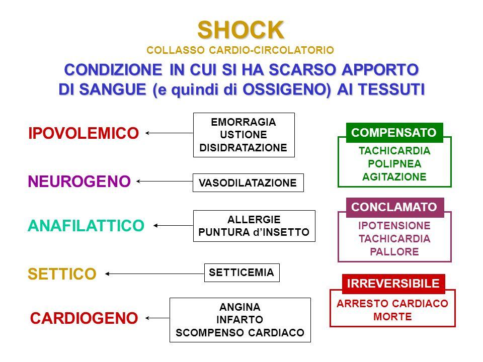 SHOCK COLLASSO CARDIO-CIRCOLATORIO CONDIZIONE IN CUI SI HA SCARSO APPORTO DI SANGUE (e quindi di OSSIGENO) AI TESSUTI IPOVOLEMICO NEUROGENO CARDIOGENO