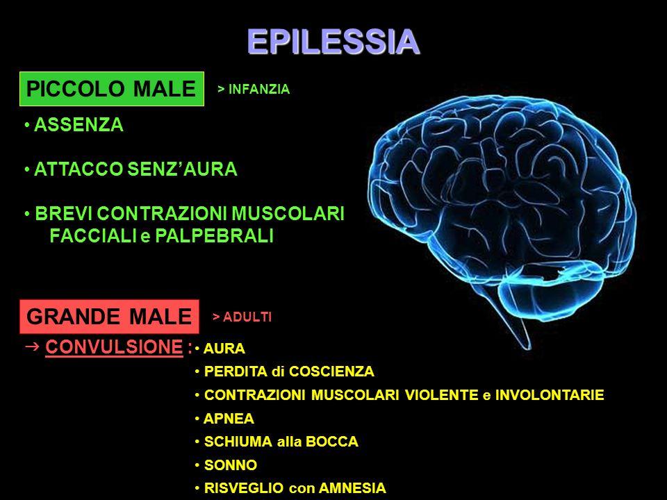 EPILESSIA PICCOLO MALE > INFANZIA ASSENZA ATTACCO SENZAURA BREVI CONTRAZIONI MUSCOLARI FACCIALI e PALPEBRALI GRANDE MALE > ADULTI CONVULSIONE : AURA P