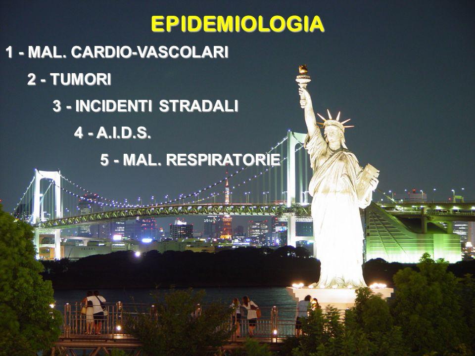EPIDEMIOLOGIA 1 - MAL. CARDIO-VASCOLARI 2 - TUMORI 2 - TUMORI 3 - INCIDENTI STRADALI 4 - A.I.D.S. 4 - A.I.D.S. 5 - MAL. RESPIRATORIE