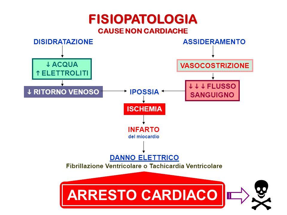 FISIOPATOLOGIA CAUSE NON CARDIACHE ASSIDERAMENTODISIDRATAZIONE IPOSSIA ISCHEMIA INFARTO del miocardio DANNO ELETTRICO Fibrillazione Ventricolare o Tac
