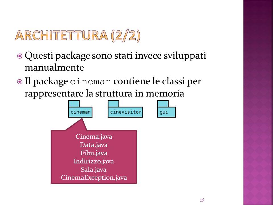 Questi package sono stati invece sviluppati manualmente Il package cineman contiene le classi per rappresentare la struttura in memoria 16 Cinema.java Data.java Film.java Indirizzo.java Sala.java CinemaException.java