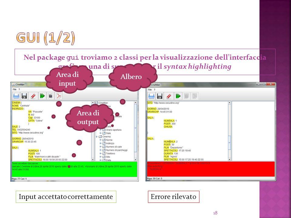 Nel package gui troviamo 2 classi per la visualizzazione dellinterfaccia grafica e una di supporto per il syntax highlighting 18 Input accettato correttamenteErrore rilevato Area di input Albero Area di output